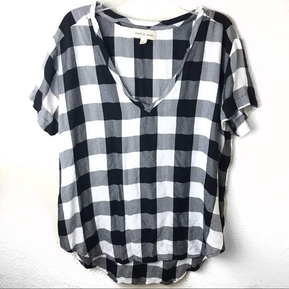 8d92dbbf cloth & stone Tops | Cloth Stone Buffalo Check V Neck Top | Poshmark